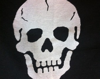 Skull Upcycled Reuseable T-Shirt Tote Small Size