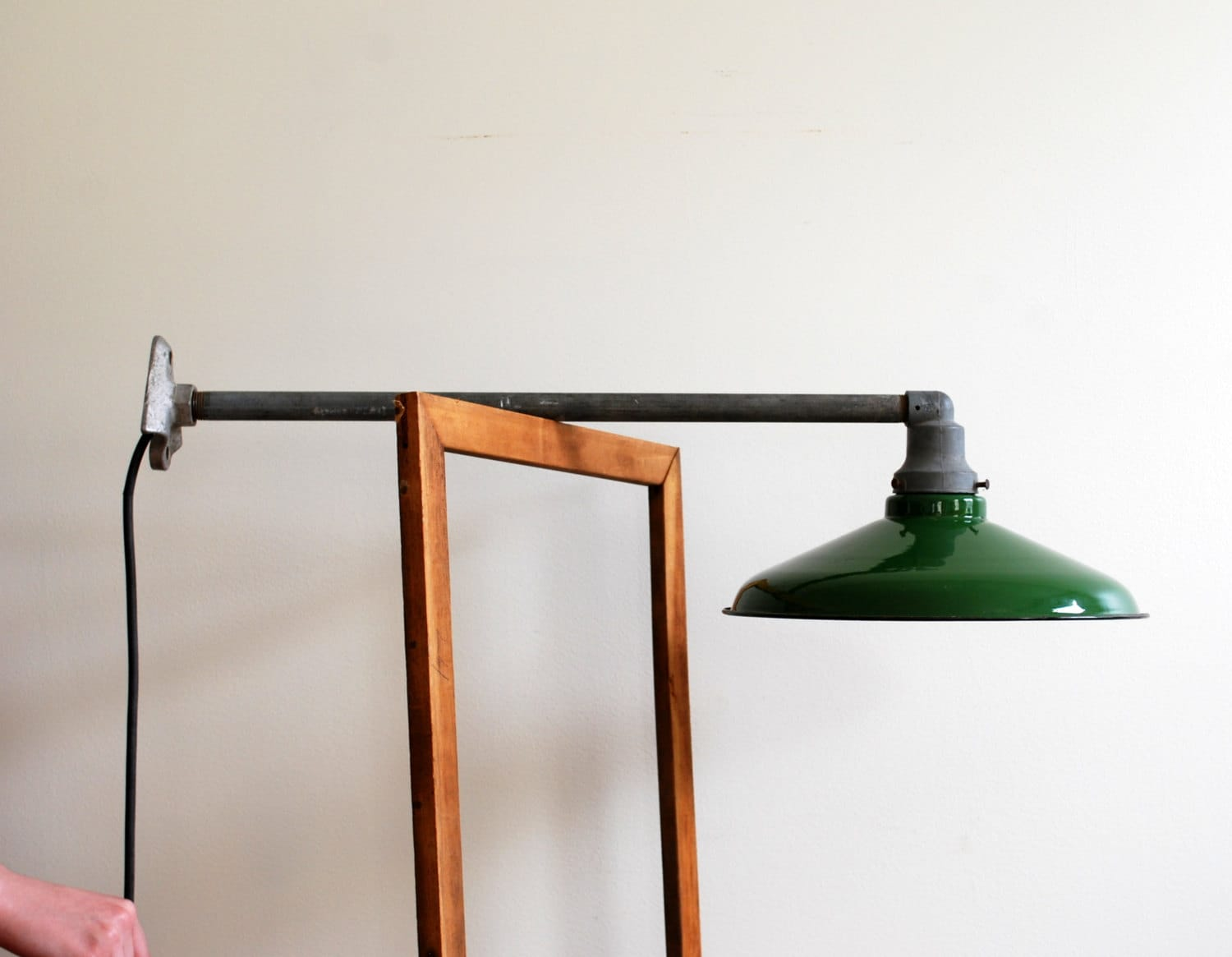 green enamel pendant light fixture with galvanized metal pipe. Black Bedroom Furniture Sets. Home Design Ideas