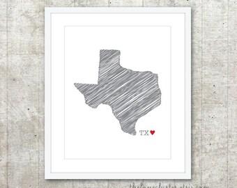 State of Texas Art Print - Custom State Love Poster - Slate Grey Red Heart - Modern Wall Art