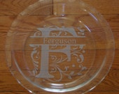 Customized Pie Dish, etched glass-Sandblasted/Etched