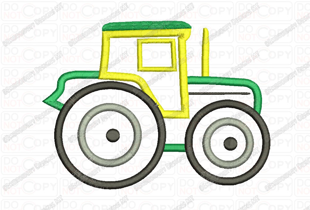 Tractor applique embroidery design in and sizes