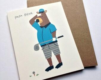 Father's Day Card - Illustrated Bear Golfing - Papa Bear - Notecard