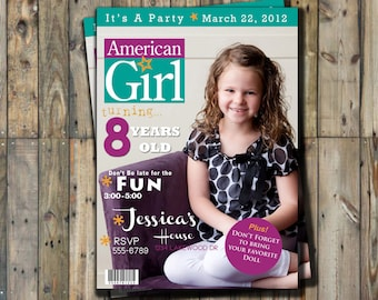 American Girl Doll Birthday Invitation Personalized