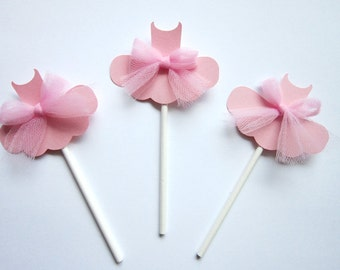 Ballerina Cupcake Toppers - Tutu Cupcake Toppers - Ballet Cupcake Toppers - Set of 12