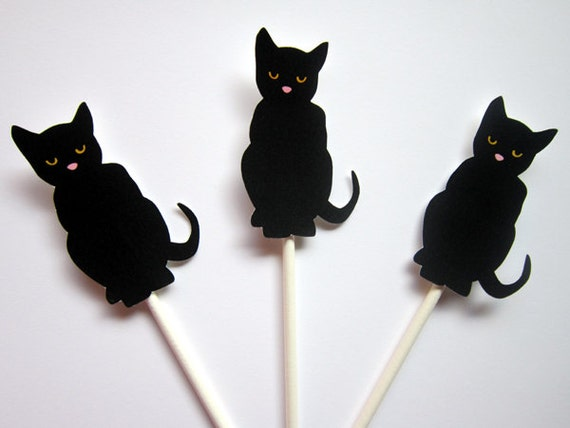 Black Cat Cake Decoration : Black Cat Cupcake Toppers Halloween Cupcake Toppers