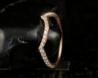 Kara Bethany - Diamond Wedding Band in Rose Gold, Round Brilliant Cut, Curved for Fit Flush with Kara Beth Engagement Rings, Free Shipping