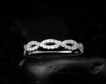 Infinity Twist Diamond Wedding Band, Pave Set Diamonds, 5/8 Eternity, Stackable, Hailey