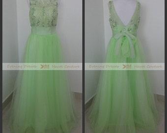 mint green prom dress, mint green evening dress, backless prom dress , long prom dress , long prom gown