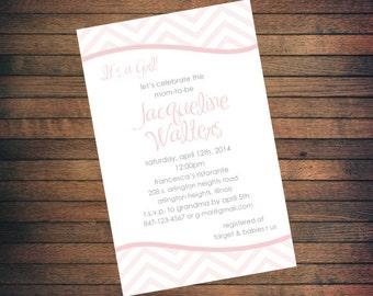 Baby Shower Invitation | Pink Chevron | Custom Printable File