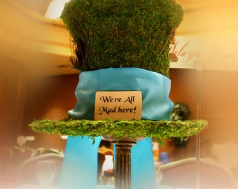 Mad Hatter Moss Centerpiece - Alice in Wonderland inspired