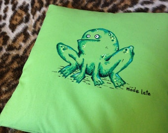 Hand painted Green Frog Cushion Cover
