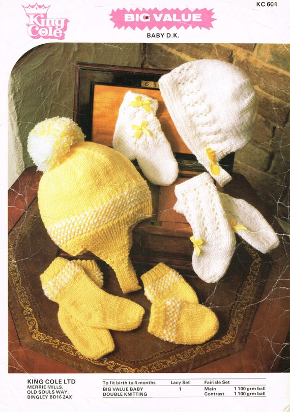 Download Knitting Patterns King Cole : Items similar to King Cole 601 baby hat bonnet bootees sets vintage knitting ...