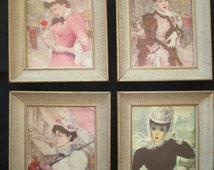 Vintage Framed Paris France Art Set of Four Stylish Women in Hats Streets of Paris