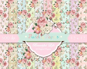 """Floral digital paper : """"Beautiful Life"""" roses digital paper in shabby chic style for scrapbooking, invites, cards, decoupage paper, roses"""