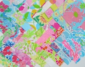 Lilly Pulitzer fabric Quilting Squares 32  6X6 inches