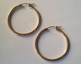 14k gold filled hoops, 2.3 x 35mm