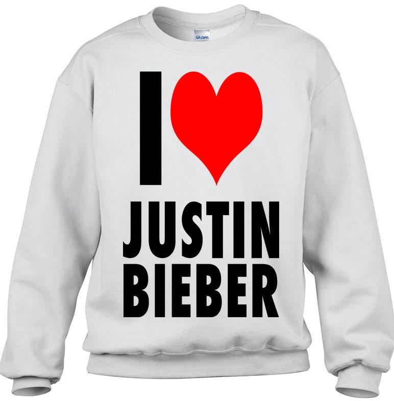 a7b6ec79843b Cool Funny T Shirts  I Love Justin Bieber Crewneck Sweatshirt-Brand ...