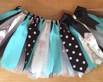 Aqua, Black, Silver, and Light Pink Paris Scrap Fabric Tutu