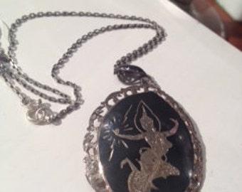 Vintage Niello Dancer Siam Sterling Silver Necklace