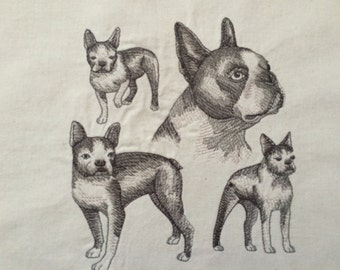 Boston Terrier ~ Dog Sketch Quilt Block
