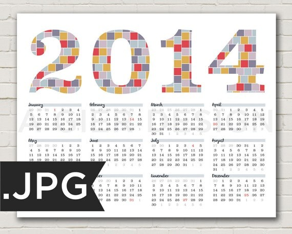 Kitchen Calendar Design : Items similar to calendar modern design