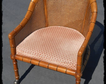 Mid Mod Faux Bamboo Cane Barrel Chair With Castors