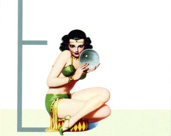 E is for Exotic Pin-Up Girl Poster