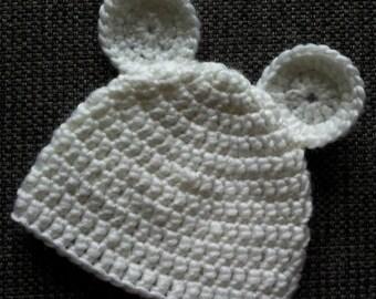 Cute handmate white  polar bear baby hat with ears