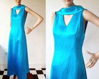 1960s 'Elka Couture' Aegean Blue Goddess Dress / 60s Satin Evening Dress / Vintage Evening Dress / Size UK 10