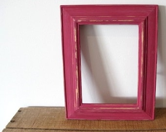 Rustic Photo Frame, Distressed Frame, Wooden Picture Frame, Raspberry Red 5x7 Photo Frame Shabby chic frame, Wedding frame, Beach decor