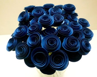 Navy Blue Wedding Decorations   Navy Blue Paper Flowers   Navy Blue Wedding    Blue Wedding