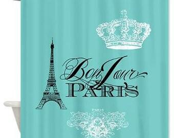 Paris France Teal Shower Curtain - Chic, french, crown, Eiffel Tower - home decor, bathroom