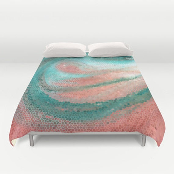 Items Similar To Beautiful Duvet Cover Abstract Teal And Peach Design Bedroom Linens Pastel
