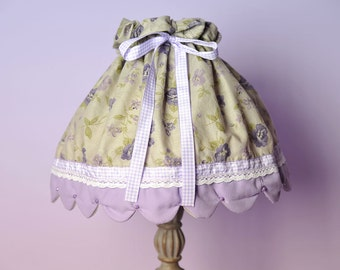 Living room decor /Country lamp shade / Lamp cover /  Shabby chic lamp shade / Lavender lamp shade / Bedroom lamp shade / Fabric lamp shade