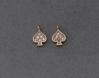 Spade Brass Pendant . Wedding Jewelry, Bridal Jewelry . Polished Rose Gold Plated over Brass  / 1 Pcs - BC107-RG-CR