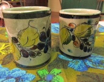SALE!!! Set of 2 Vintage TonAla Hand Painted Cups