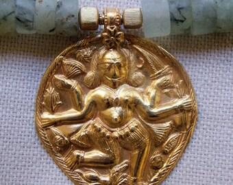 30% OFF SALE -  Stunning Old Gold Tribal Rajasthani Shakti Pendant on Matte Jade Heishi Beads wtih 24k Gold Vermeil