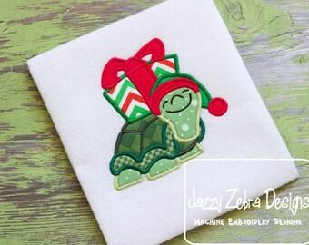 Turtle with Present Applique Design