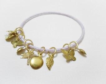 Gold charm bracelet, Gold pendants bangle, Gold dragonfly bracelet Gold butterfly bracelet