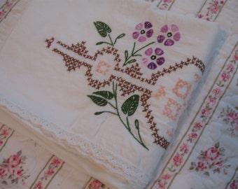 Sale-Spotless vintage embroidered cotton pillowcase, crochet edge.