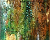Original Acrylic Abstract Painting  Original Canvas Art,  Textured  Wall Art, Home Decor, Contemporary, Greens , Blues, brown, gold