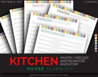 Pantry Inventory Checklist, Freezer Inventory, Refrigirator Inventory || Pastel Planner Organizer DIY || Household PDF Printables