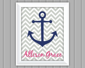 Nautical Wall Art, Anchor, Personalized Wall Art, Printable Wall Art, DIY, Childrens Wall Art, Kids Wall Art, Nursery Wall Art, DIY Wall Art