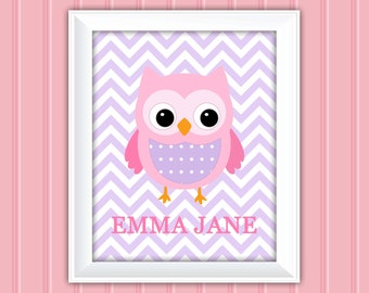 Owl Wall Art, Name Wall Art, Personalized Wall Art, Printable Wall Art, Kids Wall Art, Nursery Wall Art, DIY Wall Art