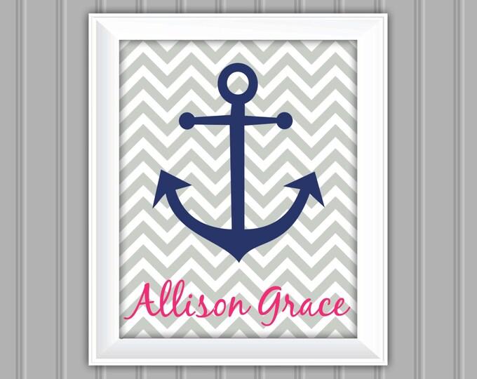 Nautical Wall Art, Anchor, Personalized Wall Art, Printable Wall Art, DIY, Childrens Wall Art, Kids Wall Art, Nursery Wall Art, DIY Wall Art