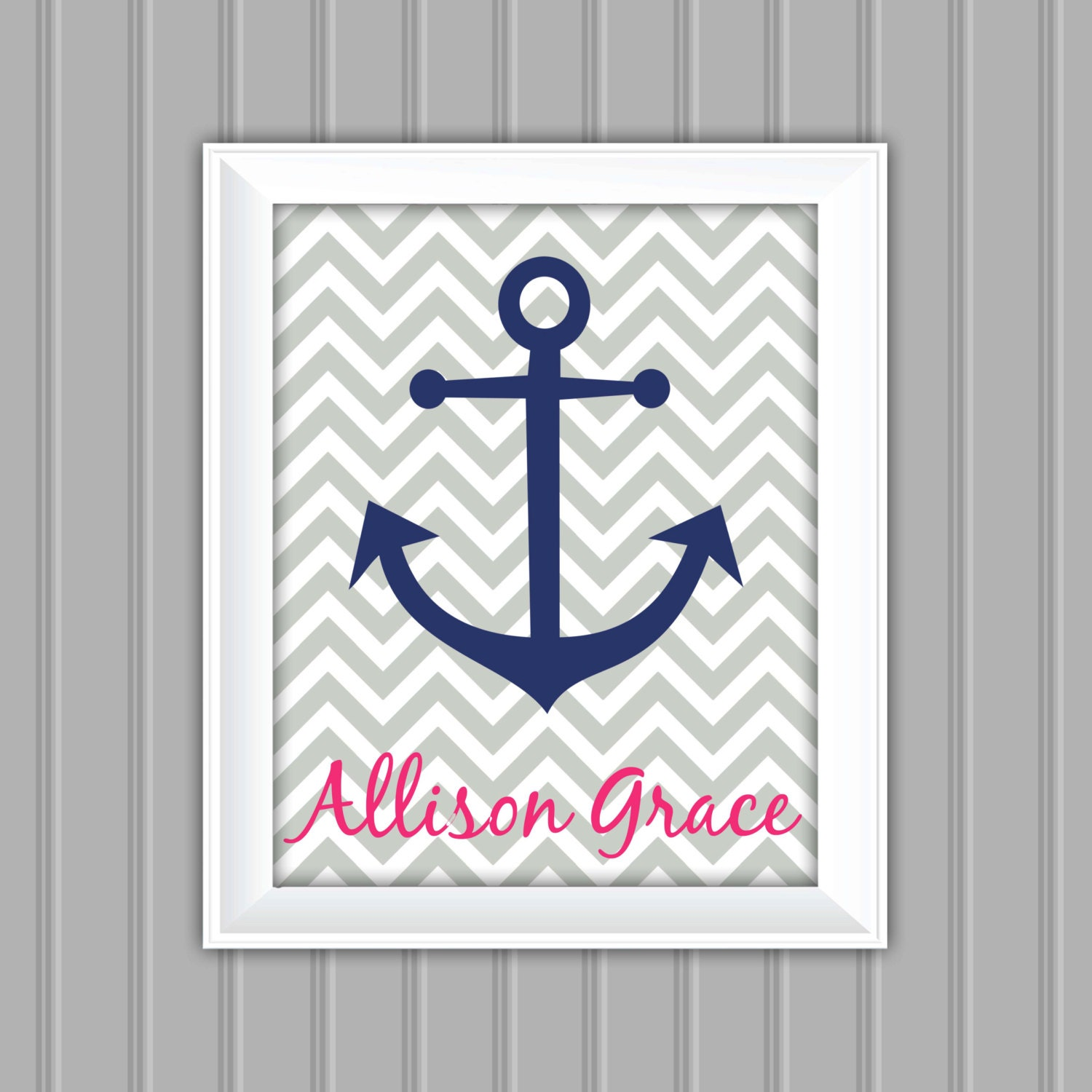 Personalized Nautical Wall Decor : Nautical wall art anchor personalized printable
