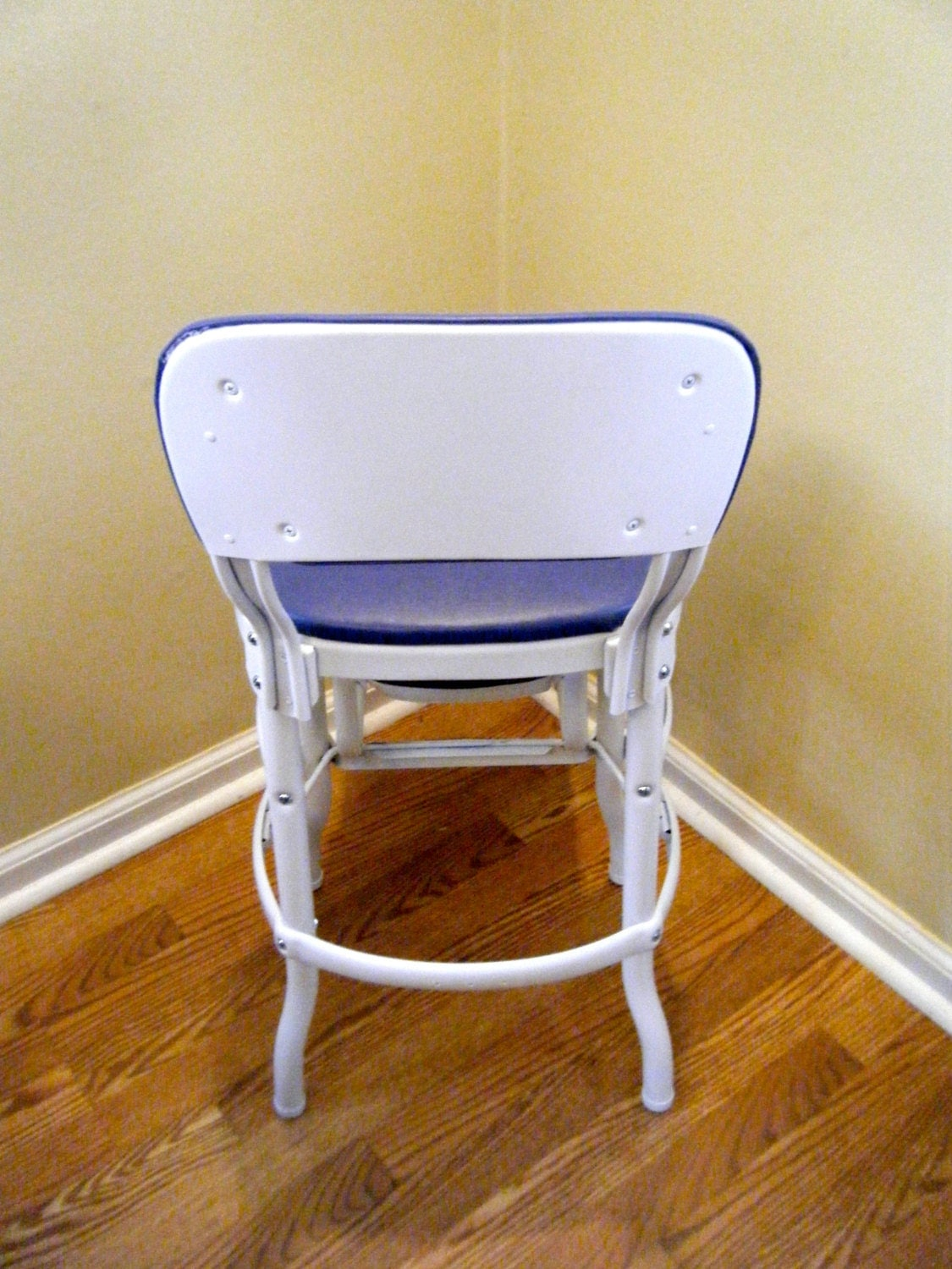 Heavy Duty Original Cosco Chair Step Stool Blue Amp White Retro