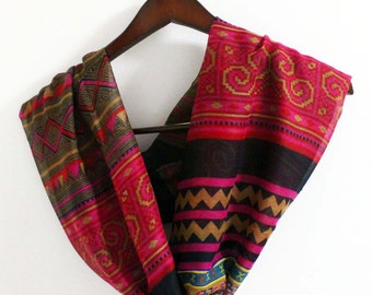 Pink Boho Scarf, Bohemian Infinity Scarf, Boho Loop Scarf, Aztec Scarf, Womens Scarves, For Her, Gift Women, Birthday Gift, Mom Gifts