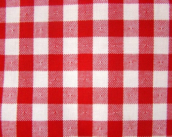 Vintage Red and White Check Upholstery Fabric by the yard - 36 inches x 54 inches