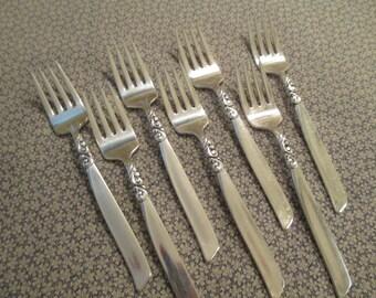 Set of Seven Vintage Oneida South Seas Salad Forks